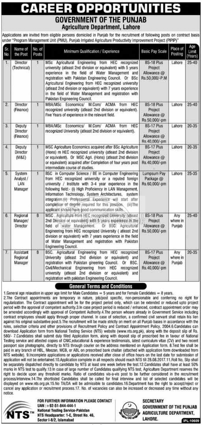 Agriculture Department Government of Punjab NTS Jobs 2017