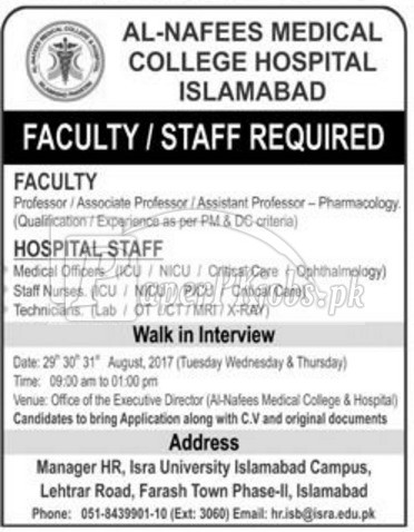 Al-Nafees Medical College Hospital Islamabad Jobs 2017