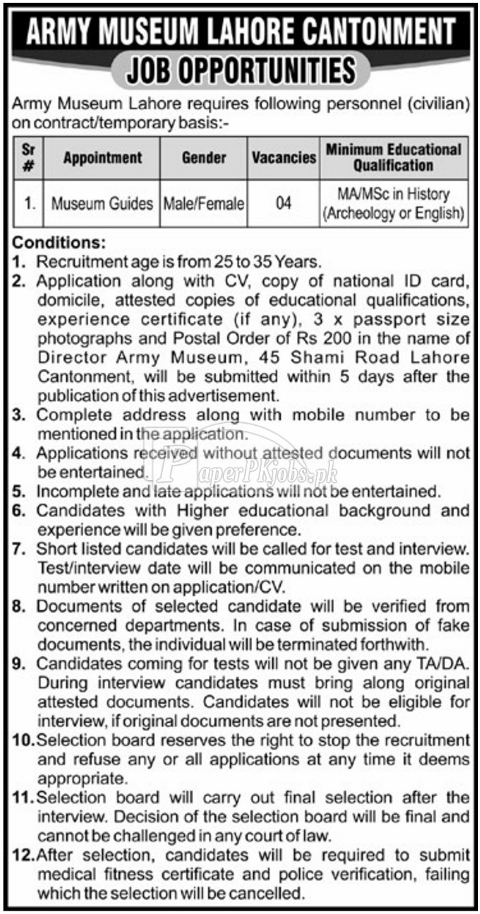 Army Museum Lahore Cantonment Jobs 2017