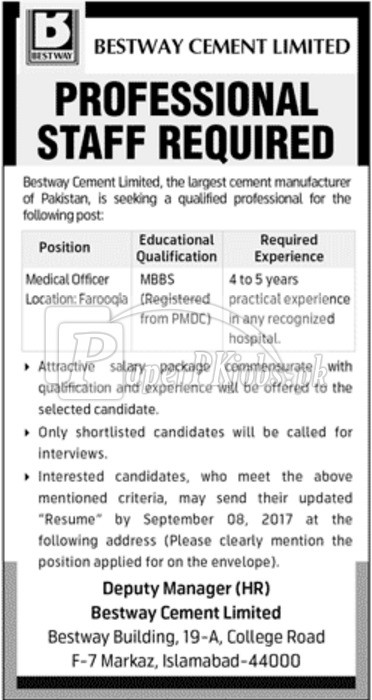 Bestway Cement Limited Jobs 2017