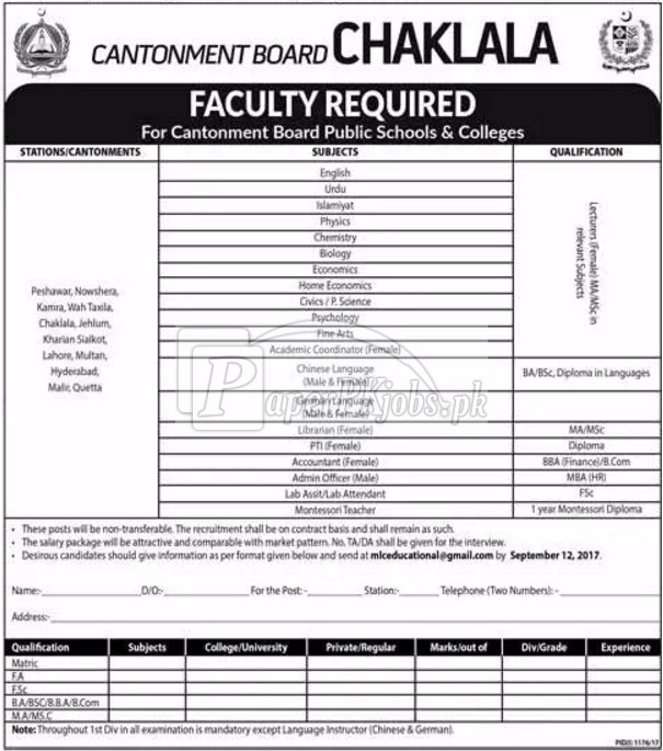 Cantonment Board Public Schools & Colleges Chaklala Jobs 2017