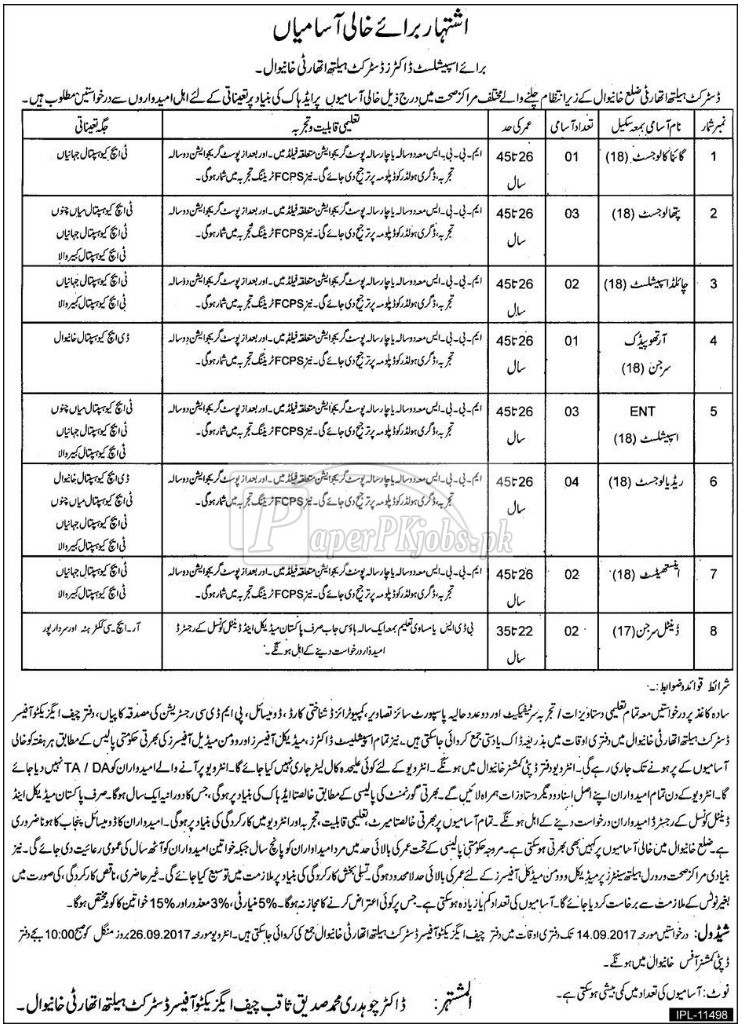 District Health Authority Khanewal Jobs 2017