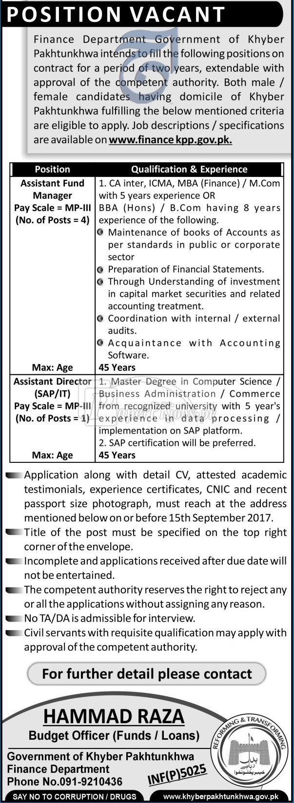 Finance Department Government of Khyber Pakhtunkhwa KPK Jobs 2017