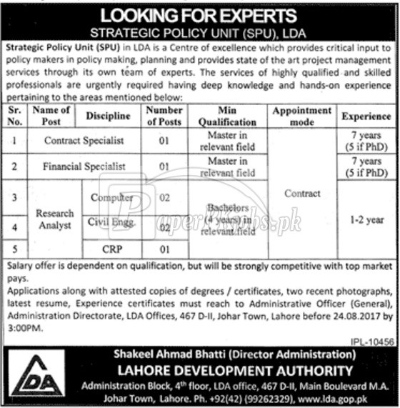 Lahore Development Authority LDA Lahore Jobs 2017