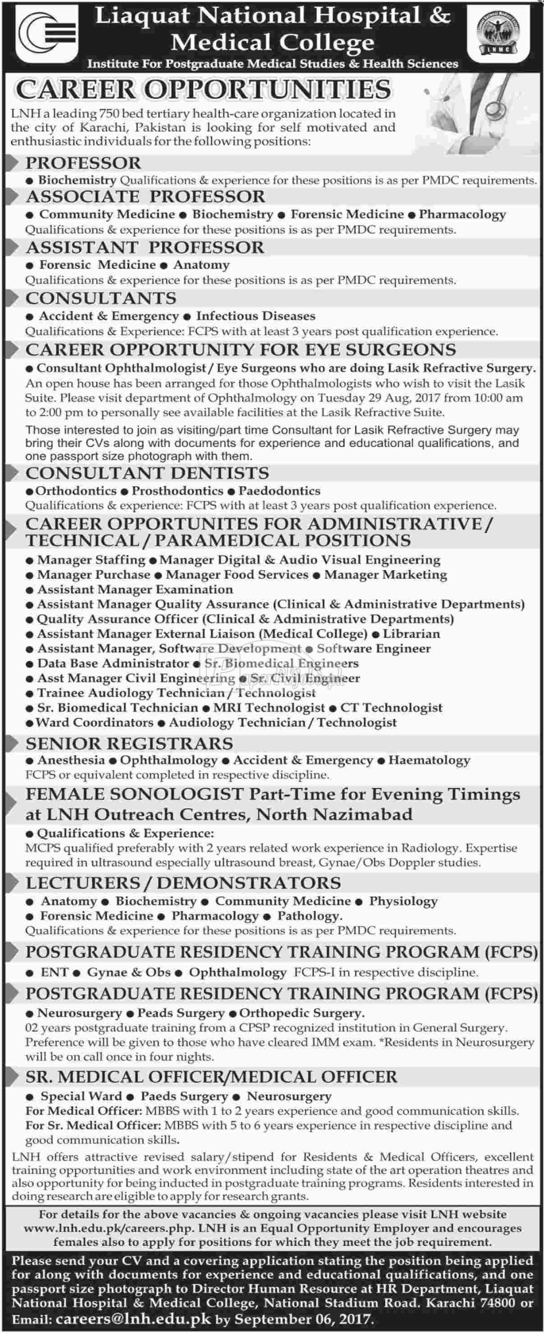 Liaquat National Hospital LNH & Medical College Jobs 2017