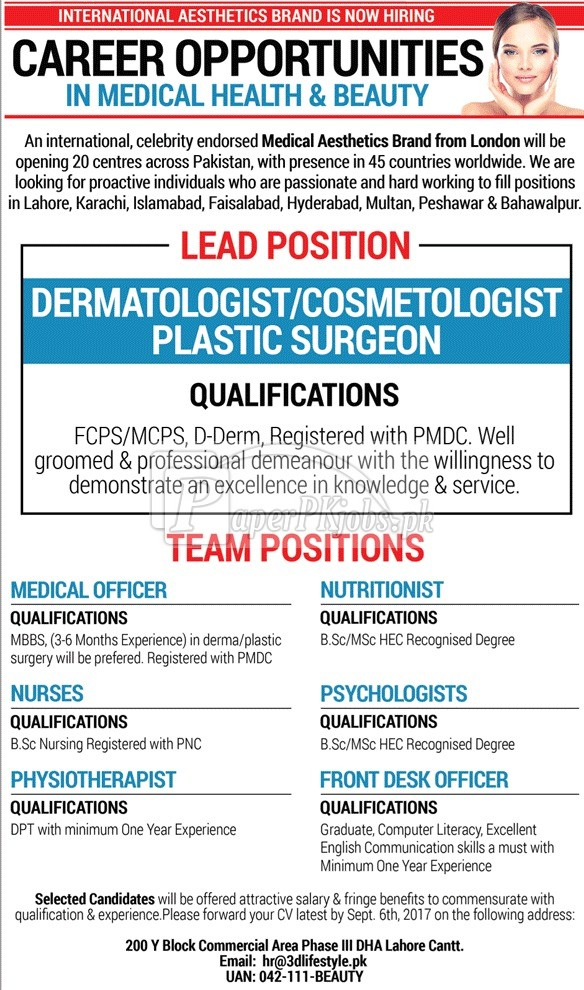 International Medical Aesthetics Brand Jobs 2017