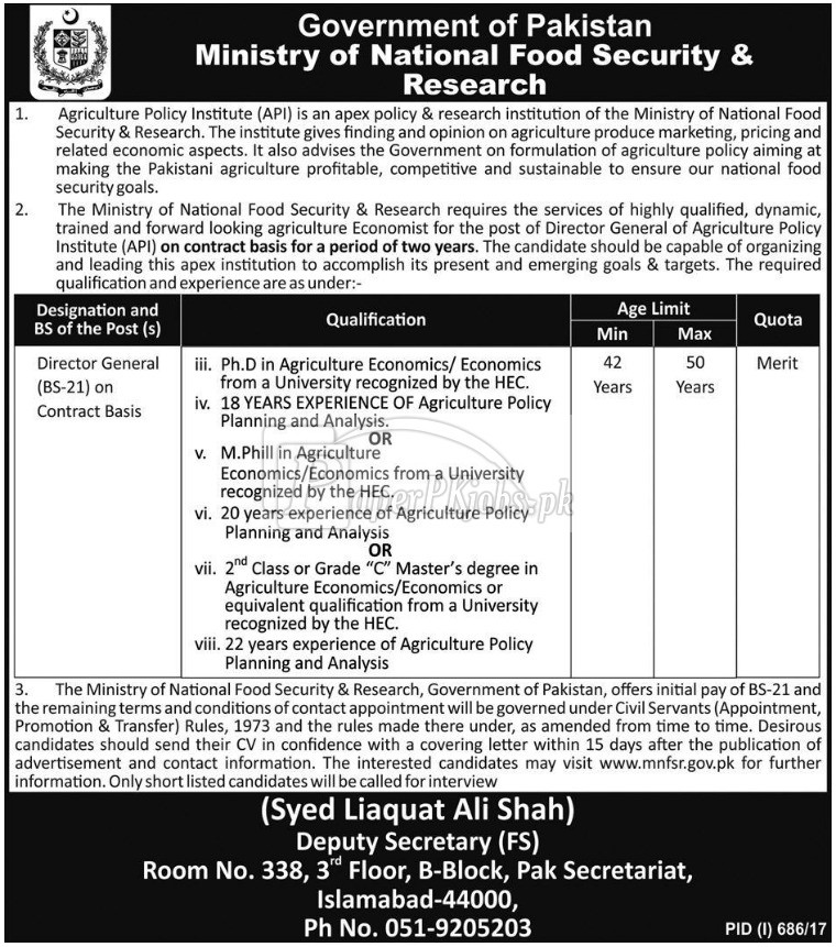 Ministry of National Food Security & Research Islamabad Jobs 2017