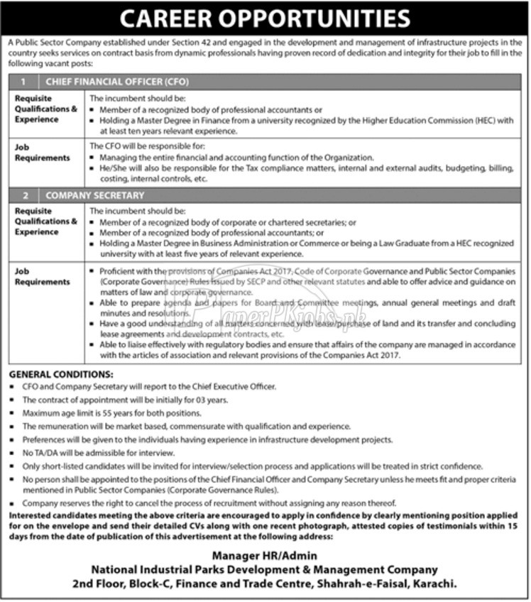 National Industrial Parks Development & Management Company Karachi Jobs 2017