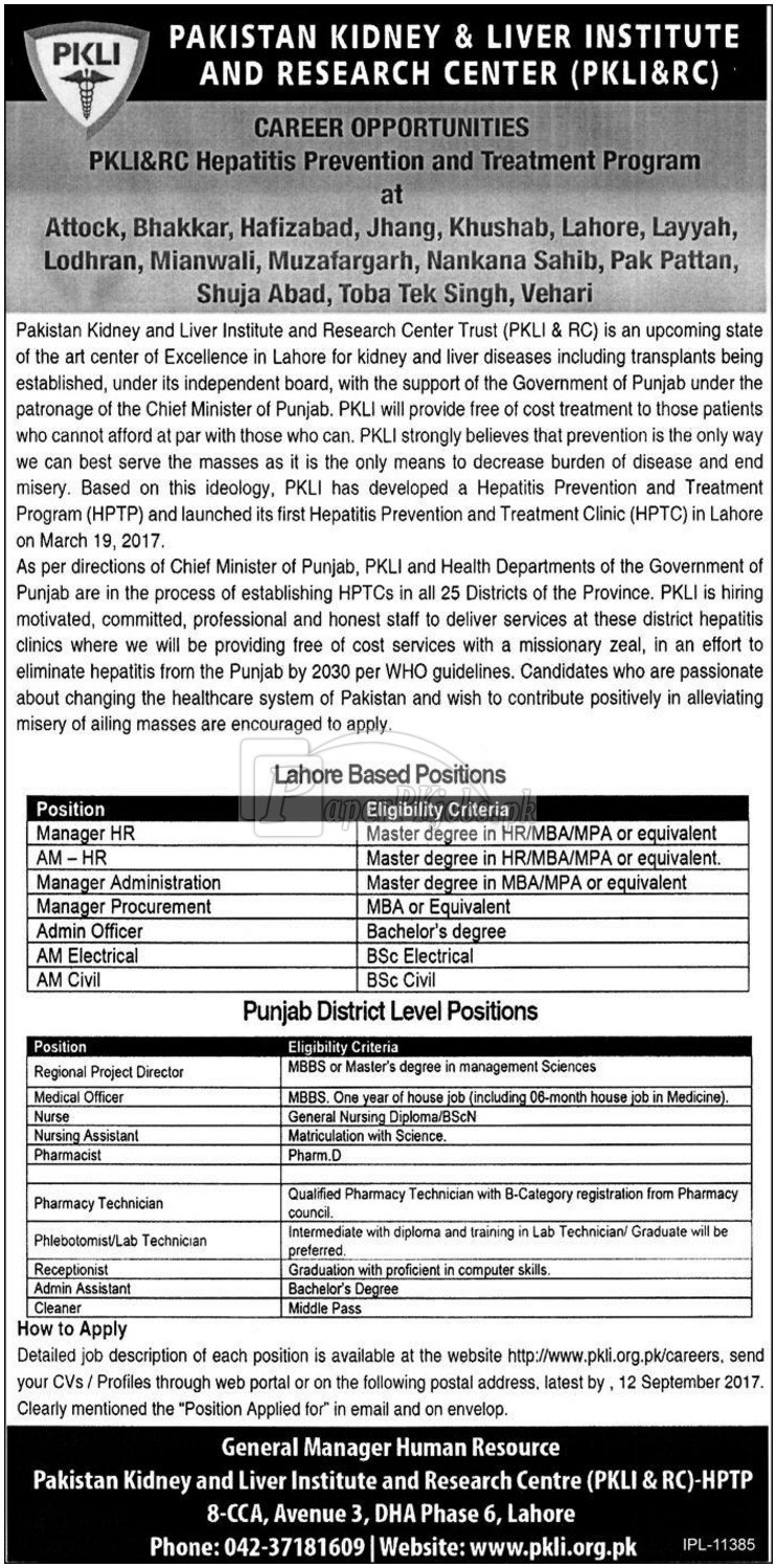 Pakistan Kidney & Liver Institute and Research Center PKLI & RC Jobs 2017