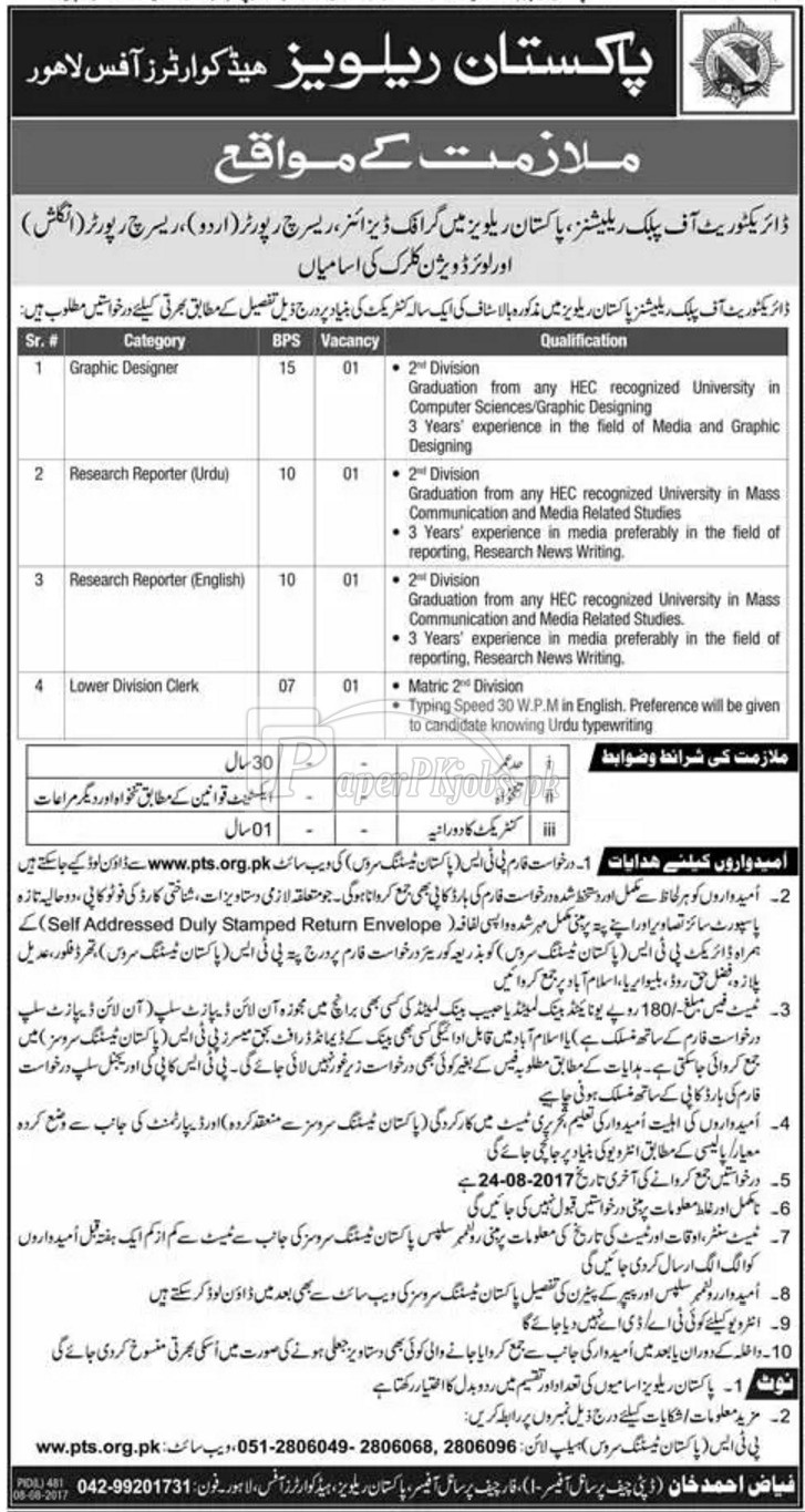 Pakistan Railways Lahore PTS Jobs 2017