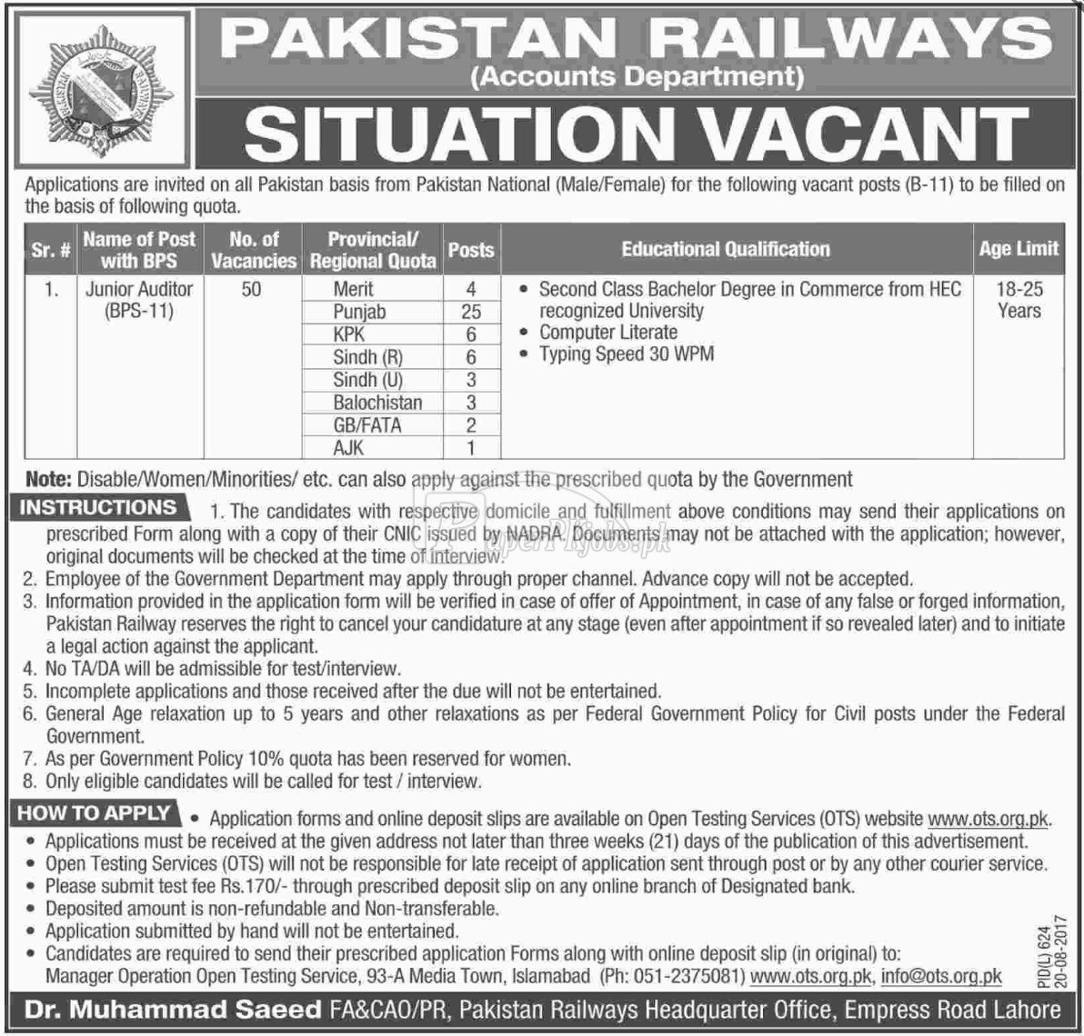 Pakistan Railways OTS Jobs 2017