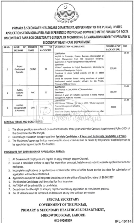 Primary & Secondary Healthcare Department Punjab Jobs 2017 (1)