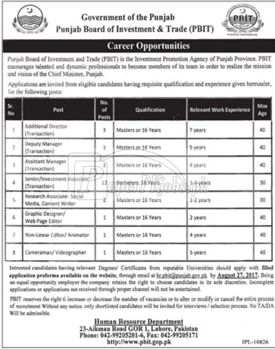 Punjab Board of Investment & Trade PBIT Jobs 2017