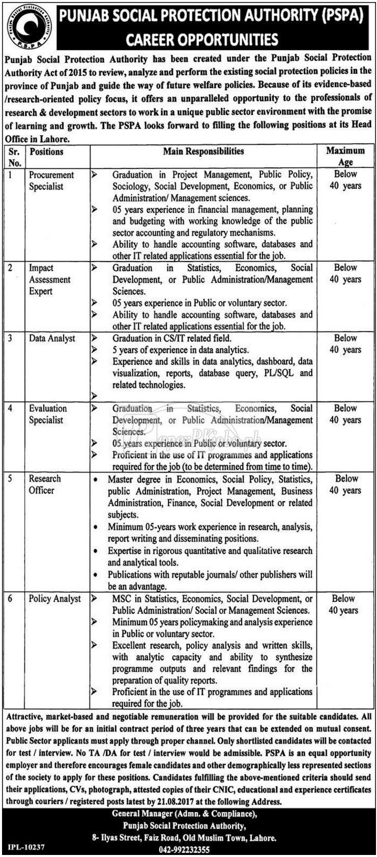 Punjab Social Protection Authority PSPA Lahore Jobs 2017
