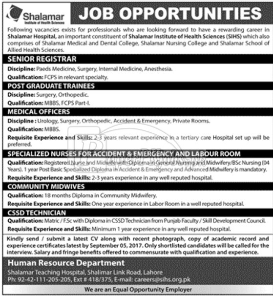 Shalamar Hospital Lahore Jobs 2017