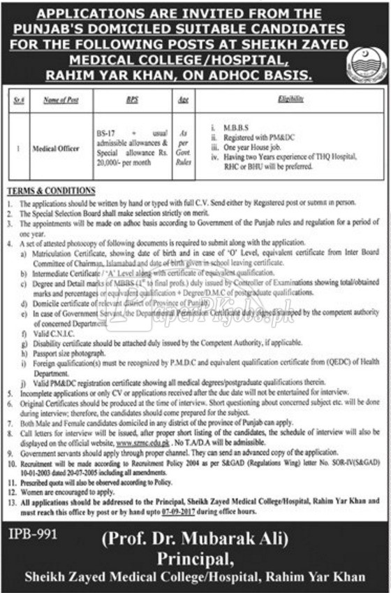 Sheikh Zayed Medical College Hospital Rahim Yar Khan Jobs 2017