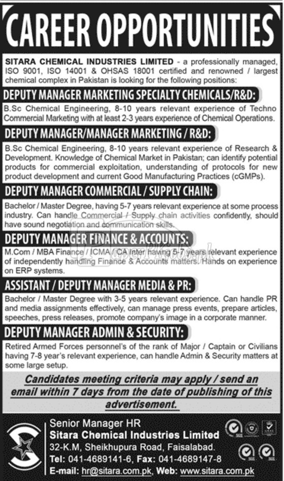 Sitara Chemical Industries Limited Faisalabad Jobs 2017