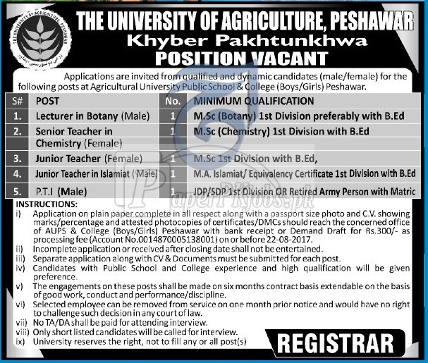 The University of Agriculture Peshawar KPK Jobs 2017