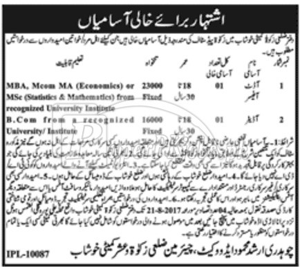 Zakat & Ushr Department Khushab Jobs 2017