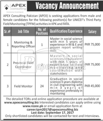 APEX Consulting Pakistan Jobs 2017