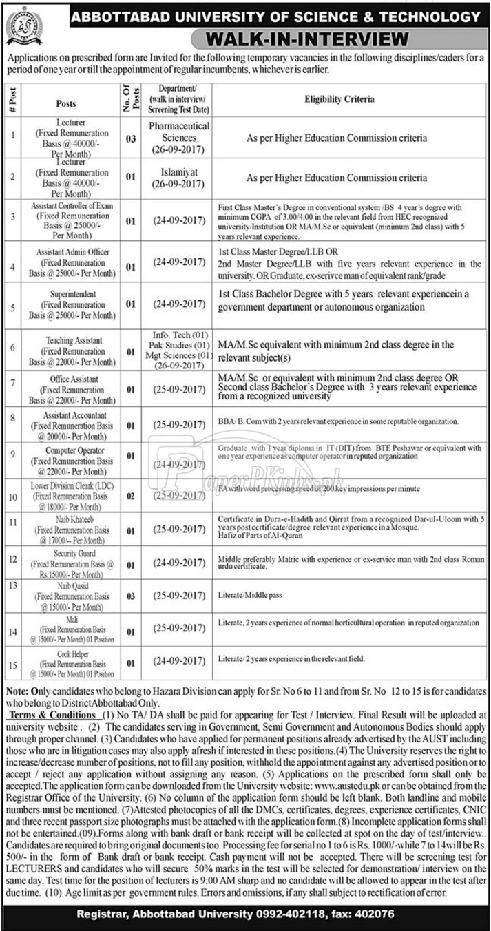 Abbottabad University of Science & Technology AUST Jobs 2017