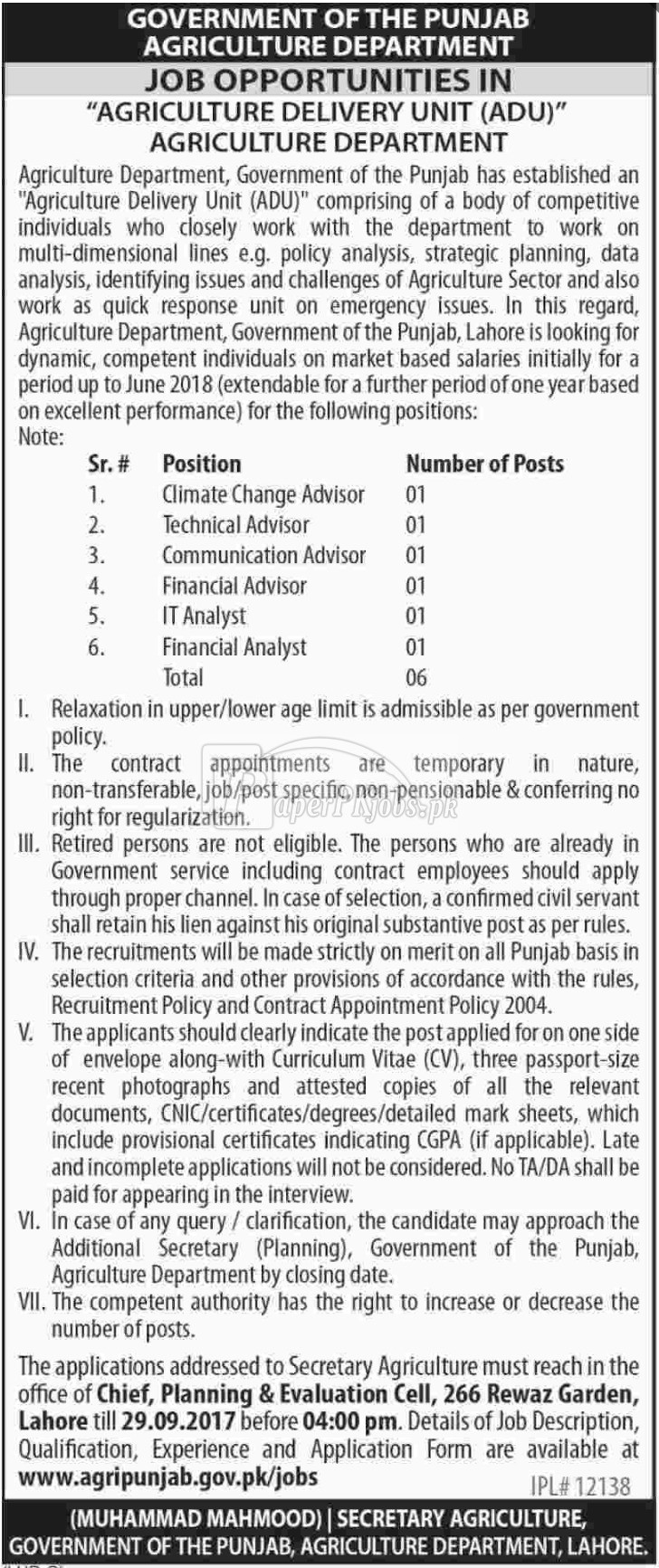 Agriculture Department Government of Punjab Jobs 2017