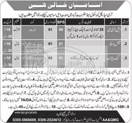 Army Medical Core School & Center Abbottabad Jobs 2017