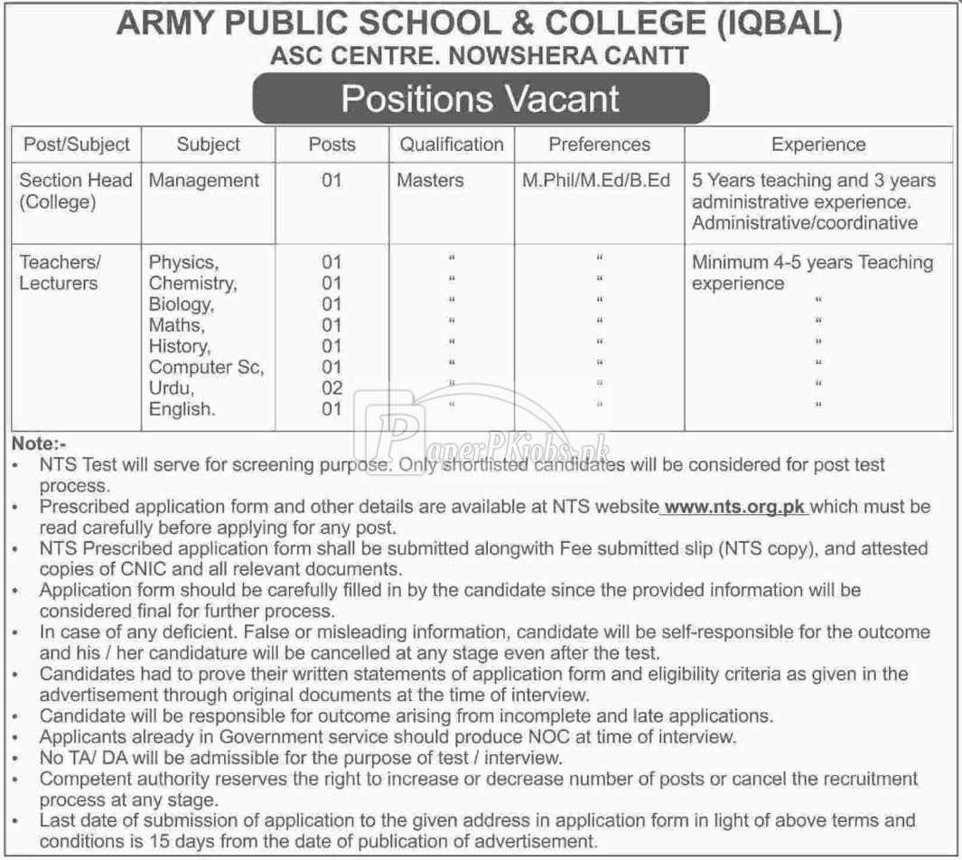 Army Public School & College Nowshera Cantt NTS Jobs 2017