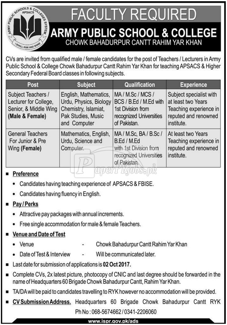Army Public School & College Rahim Yar Khan Jobs 2017
