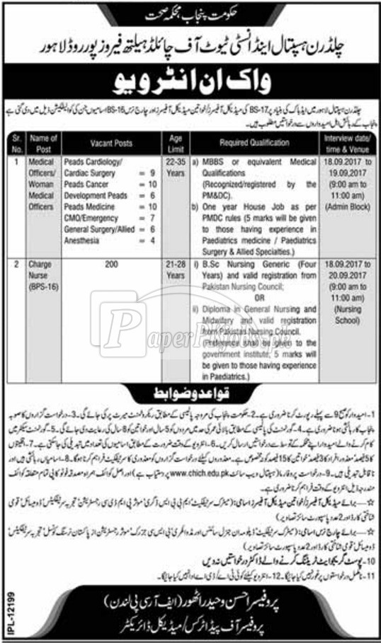 Children Hospital Lahore Jobs 2017