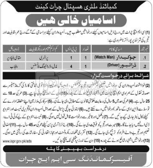 Combined Military Hospital CMH Cherat Cantt Jobs 2017