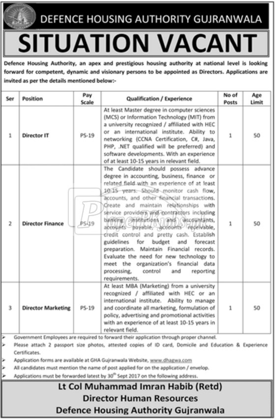 Defence Housing Authority DHA Gujranwala Jobs 2017