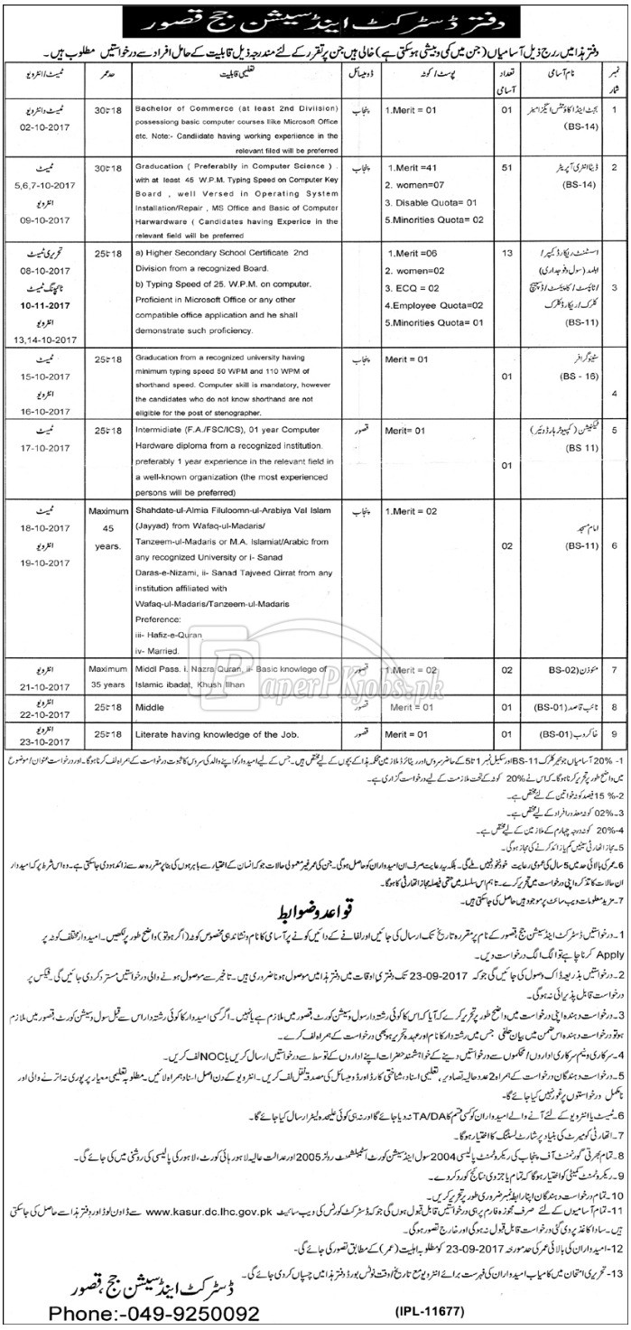 District & Session Court Kasur Jobs 2017