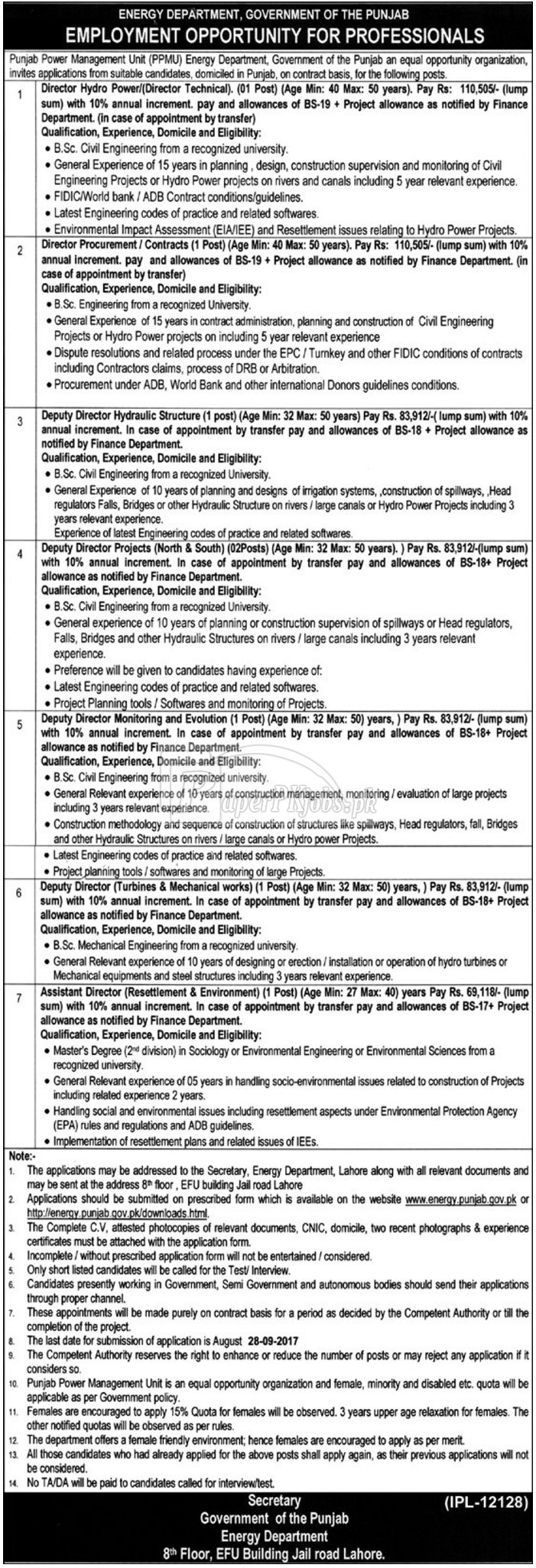 Energy Department Government of Punjab Jobs 2017