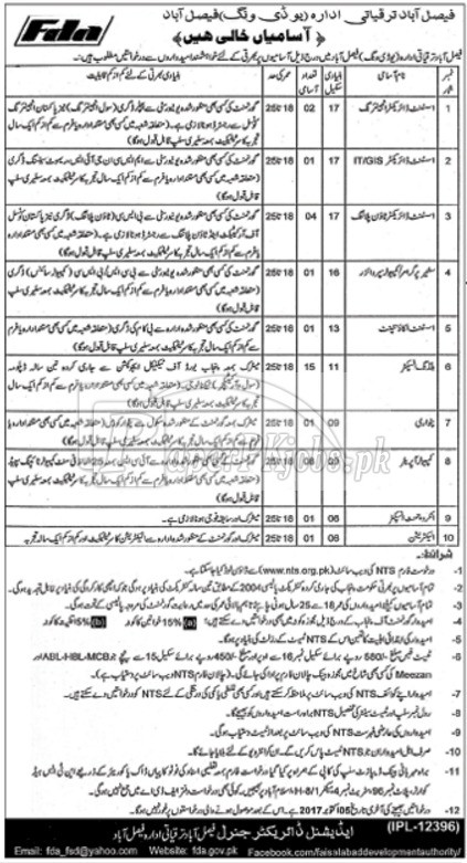 Faisalabad Development Authority FDA Jobs 2017