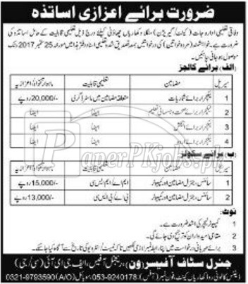 Federal Government Educational Institutions FGEI Kharian Cantt Jobs 2017