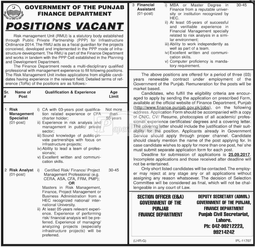 Finance Department Government of Punjab Jobs 2017