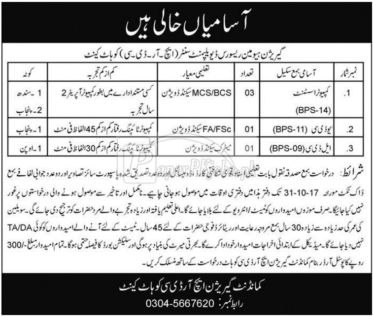 Garrison Human Resource & Development Center HRDC Kohat Cantt Jobs 2017