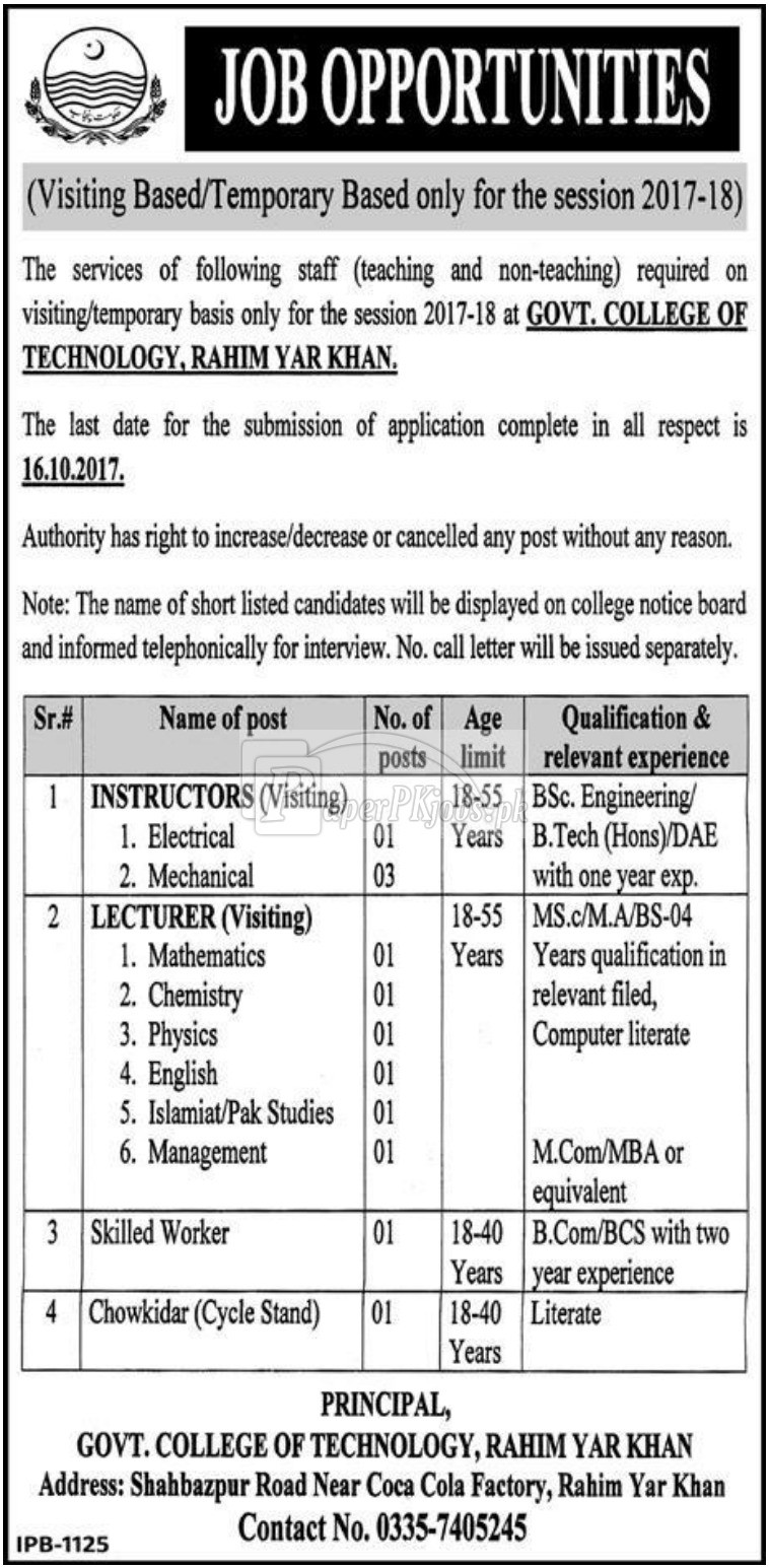 Government College of Technology Rahim Yar Khan Jobs 2017