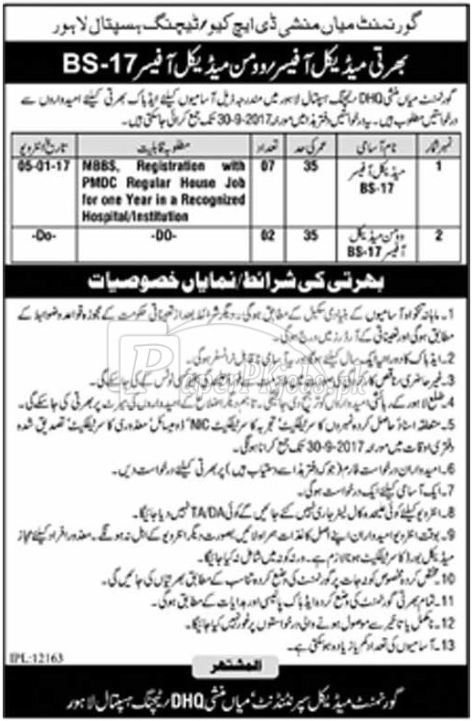 Government Mian Munshi DHQ Teaching Hospital Lahore Jobs 2017