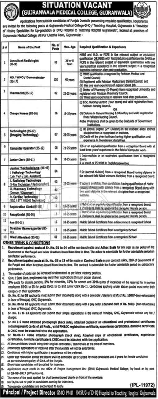 Gujranwala Medical College GMC Gujranwala Jobs 2017