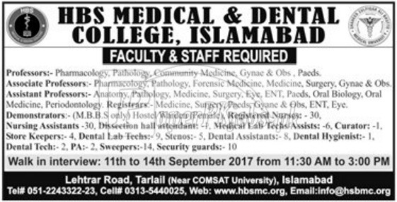 HBS Medical & Dental College Islamabad Jobs 2017