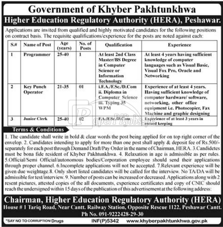 Higher Education Regulatory Authority HERA Peshawar Jobs 2017