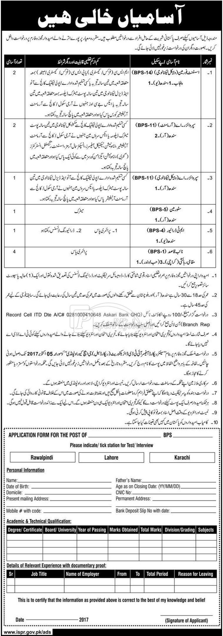 IT Directorate Record Cell GHQ Rawalpindi Jobs 2017