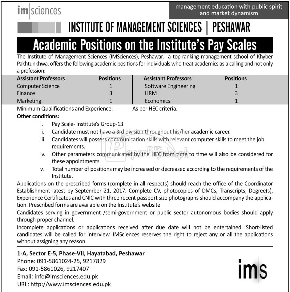 Institute of Management Sciences Peshawar Jobs 2017