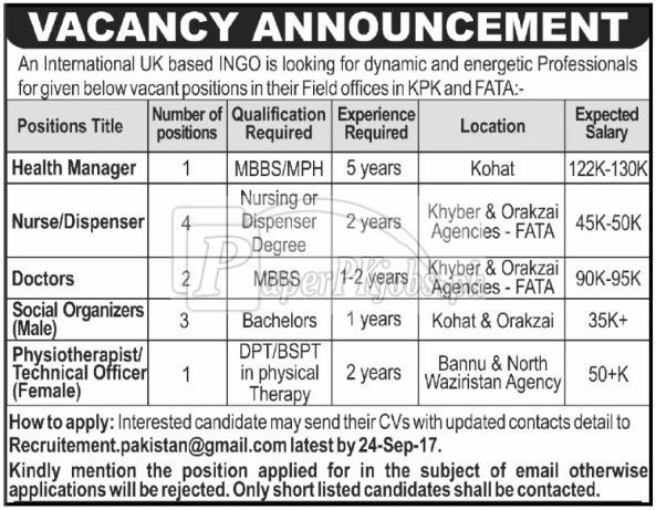 International NGO KPK Jobs 2017
