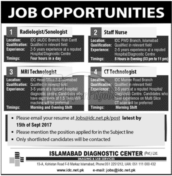 Islamabad Diagnostic Center IDC Jobs 2017