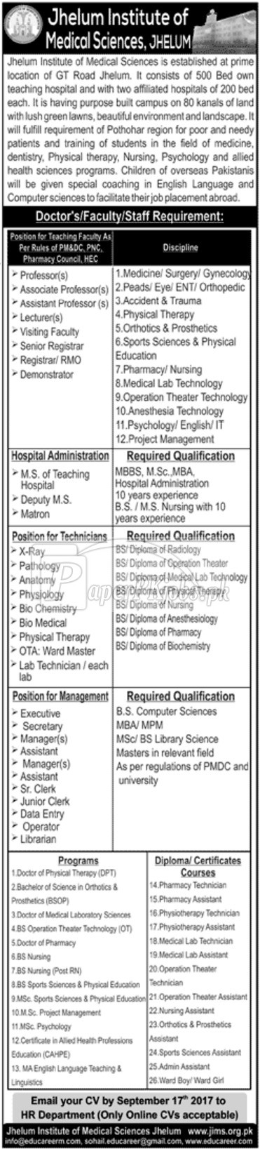 Jhelum Institute of Medical Sciences JIMS Jhelum Jobs 2017