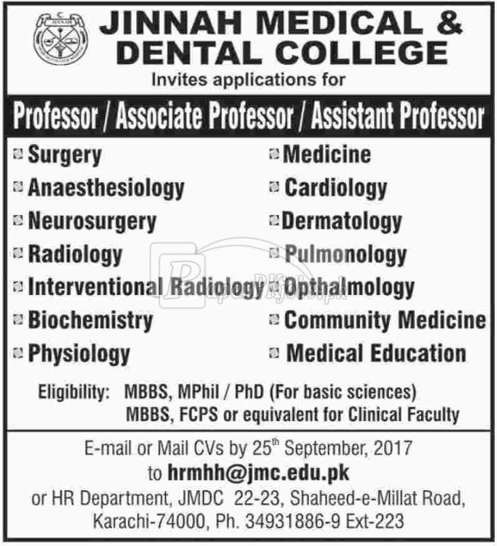 Jinnah Medical & Dental College Karachi Jobs 2017