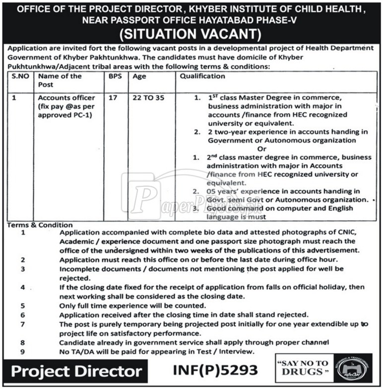 Khyber Institute of Child Health Peshawar Jobs 2017